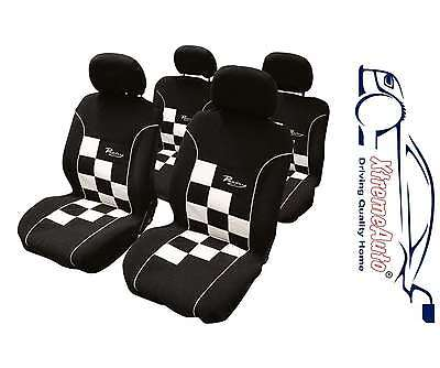 Universal Black & White Racing Chequered Car Seat Cover 8 Pce Airbag Compatible