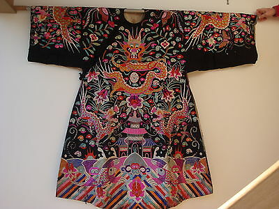 Chinese Antique Embroidered Black fabric Robe 19c Dragons Koi Clouds SALE!