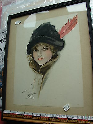 Beautiful water color of woman after Harrison Fisher- 1910