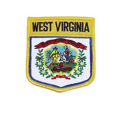 West Virginia Usa State Shield Flag Embroidered Iron-On Patch Crest Badge..new