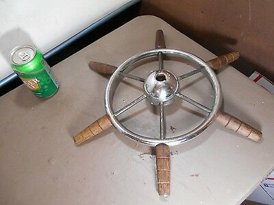 "VINTAGE -1950's 16 1/2 "" Chromed Metal & Wood Ships Wheel / REAL & ORIGINAL !!"