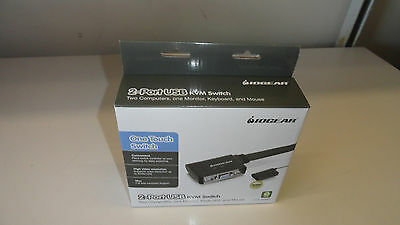 IOGEAR 2-Port USB KVM Switch with Cables and Remote GCS22U (Black) New