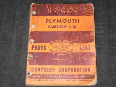 1942 Plymouth Model P14 Parts Book Illustrated