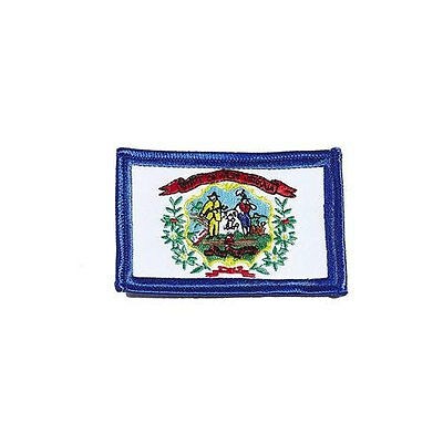 West Virginia Usa State Square Flag Embroidered Iron-On Patch Crest Badge.. New