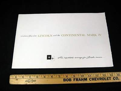 1959 Lincoln and Continental Mark IV Dealer Catalog Sales Brochure