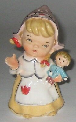 Young DUTCH GIRL w/DOLL Vintage JAPAN Pottery SINGLE Shaker