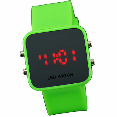Green Jelly Silicone LED Digital Men Womens Square Creative Watch Mirror Sport
