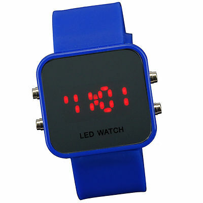 D Blue Jelly Silicone LED Digital Men Womens Square Creative Watch Mirror Sport