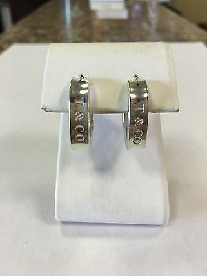 Authentic Tiffany & Co Sterling Silver 1837 Square Hoop Earrings