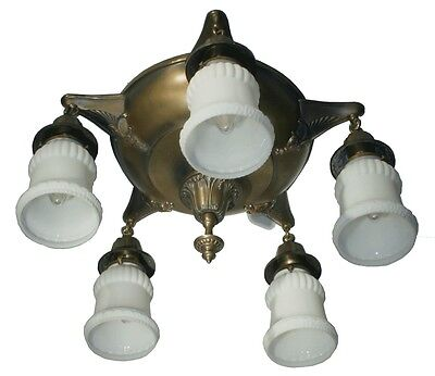 "Vtg Antique Ceiling Fixture Chandelier Brass Glass 5 Lamp Art Deco 2-1/4"" Fitter"