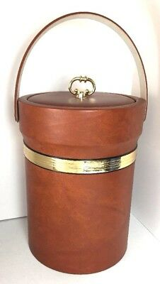 Vintage Retro Brown Vinyl Ice Bucket Mod Party Shelton Ware Made in USA Holder