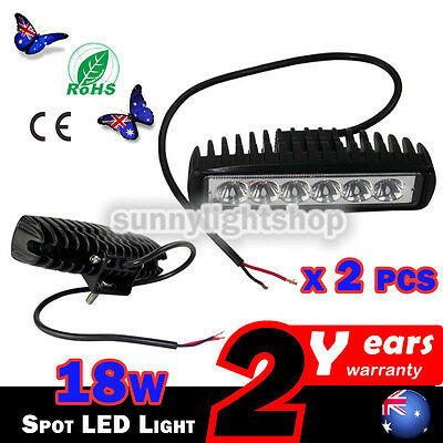 2x 6inch 18W LED Work Light Bar Spot Driving Lamp Truck Offroad SUV UTE 4WD