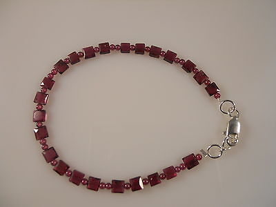 Sterling Silver, Smooth Round And Faceted Square Garnet Bracelet