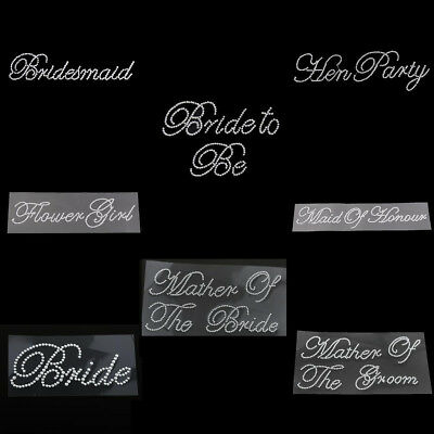 Clear Bride Maid of Honour Rhinestone Sticker Motif Decal Wedding Hen Party