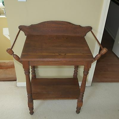 Antique Primitive Country Sheraton Pine Washstand Server Table - Rustic