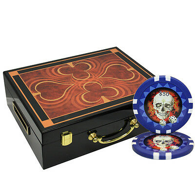 500pcs SKULL CLAY POKER CHIPS SET HIGH GLOSS WOOD CASE