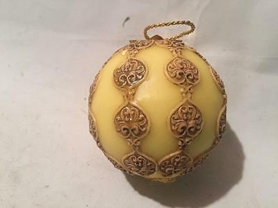 Antique Vintage Western Germany WAX Christmas Tree Yellow Ornament Rare Handmade