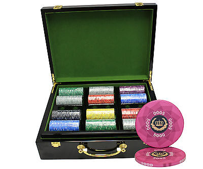 500pcs 10G LAUREL CROWN CERAMIC POKER CHIPS SET HIGH GLOSS WOOD CASE