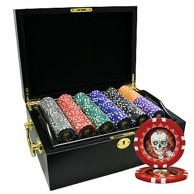 500 Count Professional Skull Casino Las Vegas Poker Chip Set Wood Case