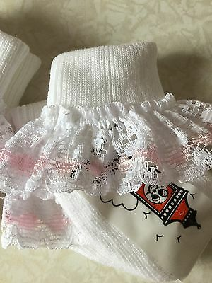 Baby Girl White Pink Ivory Lace Frilly Socks Quality Summer 000 00 0-2.5  3.5.5