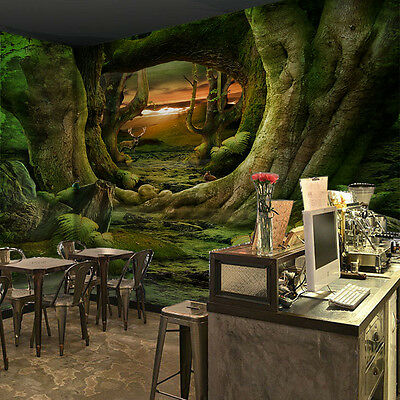 3D Green Tree Root Cave Wall Paper Wall Print Decal Wall Deco Indoor Mural