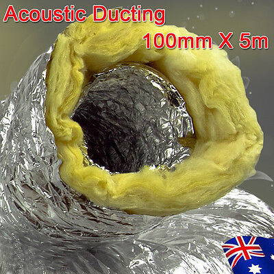 "Acoustic Ducting Insulated 4""/5""/6""/8"" 100/125/150/200mm X 5m Length Ventilation"