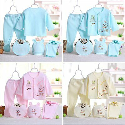5 Pcs Newborn Infants Cotton Monk Shirt Pants Animal Print Clothes Outfits  0-3M