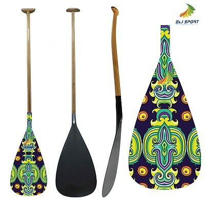 ZJ SPORT Hawaii Outrigger Canoe OC Paddle In Graphic Carbon Blade Wooden Shaft