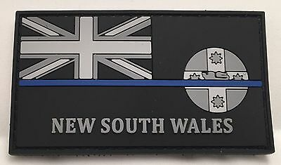 NSW Thin Blue Line, Police Rubber / PVC Patch, State Flag, Hook Rear, TBL