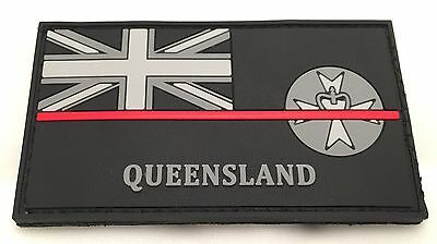 Thin Red Line, QLD Fire Rubber / PVC Patch, State Flag, Hook Rear