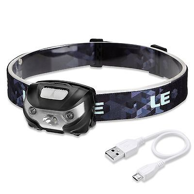 LE LED Headlamp Cool White 3 Modes Head Light  Lamp USB Cord Rechargable Camping