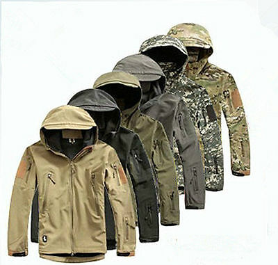 ESDY Men Outdoor Jacket Waterproof TAD Coat Shark Skin Soft Shell Hoodie Hunting