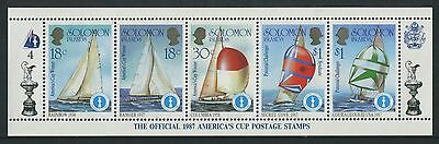 AMERICA'S CUP 1987 - MUH STRIP OF FIVE No 4 - ISSUED 1986 (GO216-RR)