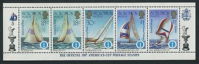 AMERICA'S CUP 1987 - MUH STRIP OF FIVE No 5 - ISSUED 1986 (GO216-RR)