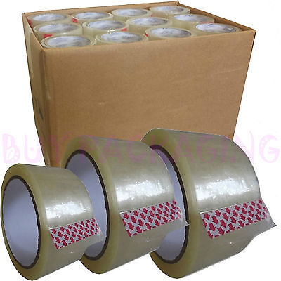 "Box of 36 ROLLS 2"" Clear Packaging Packing Tape Cellotape - 48mm X 66M"
