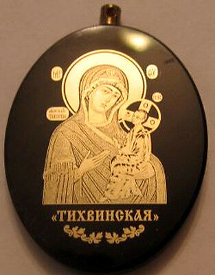 Russian Natural Stone Icon Pendant Virgin Mary #03.4.6