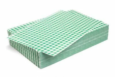 GREEN Gingham Duplex 2 PLY Paper 250 X 380mm Qty 10kg Meat Bakery Display