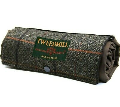 PICNIC RUG COMPACT Waterproof Backed COUNTRY CHECK TWEED Pure New Wool Tweedmill