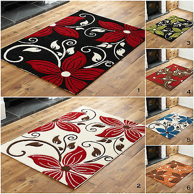 Large Extra Large  Black Red Multi Colour Flowery Design Clearance Rugs For Sale