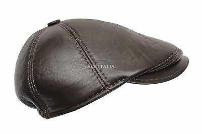 4923741b395 Newsboy Baker Boy Ascot Ivy Drive Golf Dark Brown Genuine Leather Snap Brim  Cap