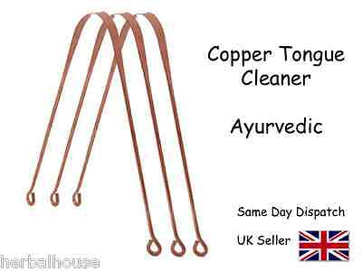 3 x COPPER Ayurvedic Tongue Cleaner / Oral Scraper ***SPECIAL OFFER***
