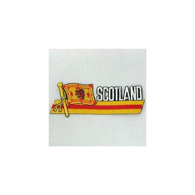 Scotland Lion Sidekick Word Country Flag Iron-On Patch Crest Badge 1.5 X 4.5 In.