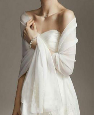 White/Ivory Chiffon Bridal Wrap Wedding Shawl Scarf Cover Up long Shrug Stole