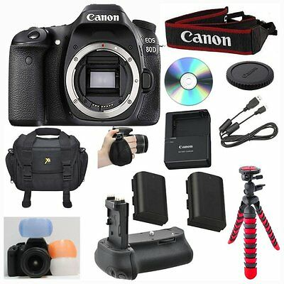 Canon 80D Digital SLR Camera Body Only Bundle with Extra Battery + Accessories