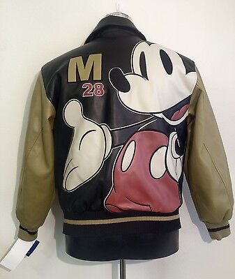 Authentic Walt Disney Mickey Faux Leather Jacket - Men's Size Small