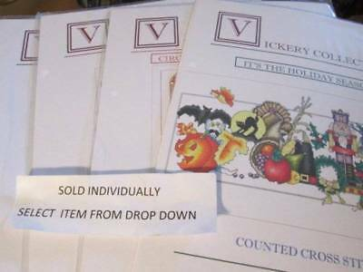 Vickery Collection Christmas/Holiday Cross Stitch Chart Your Choice