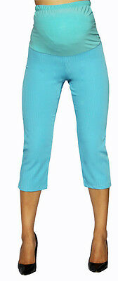 effc719ea7c20 New Maternity Elastic Band Blue Cropped Capris Pants Bottoms Stripped S M L  XL