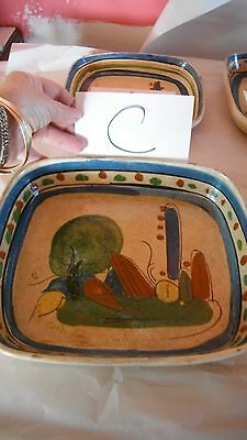 """vintage hand painted Old Mexico redware pottery rectangle Tlaquepaque tray 10"""" C"""