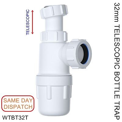 32mm EASI-FLO TELESCOPIC Bottle Trap 75mm Seal WTBT32T*IDEAL FOR BATHROOM BASIN*