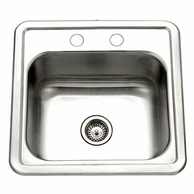 Houzer Bar Sink Country Kitchen Top Mount 2 Holes Stainless Steel Prep 15x15